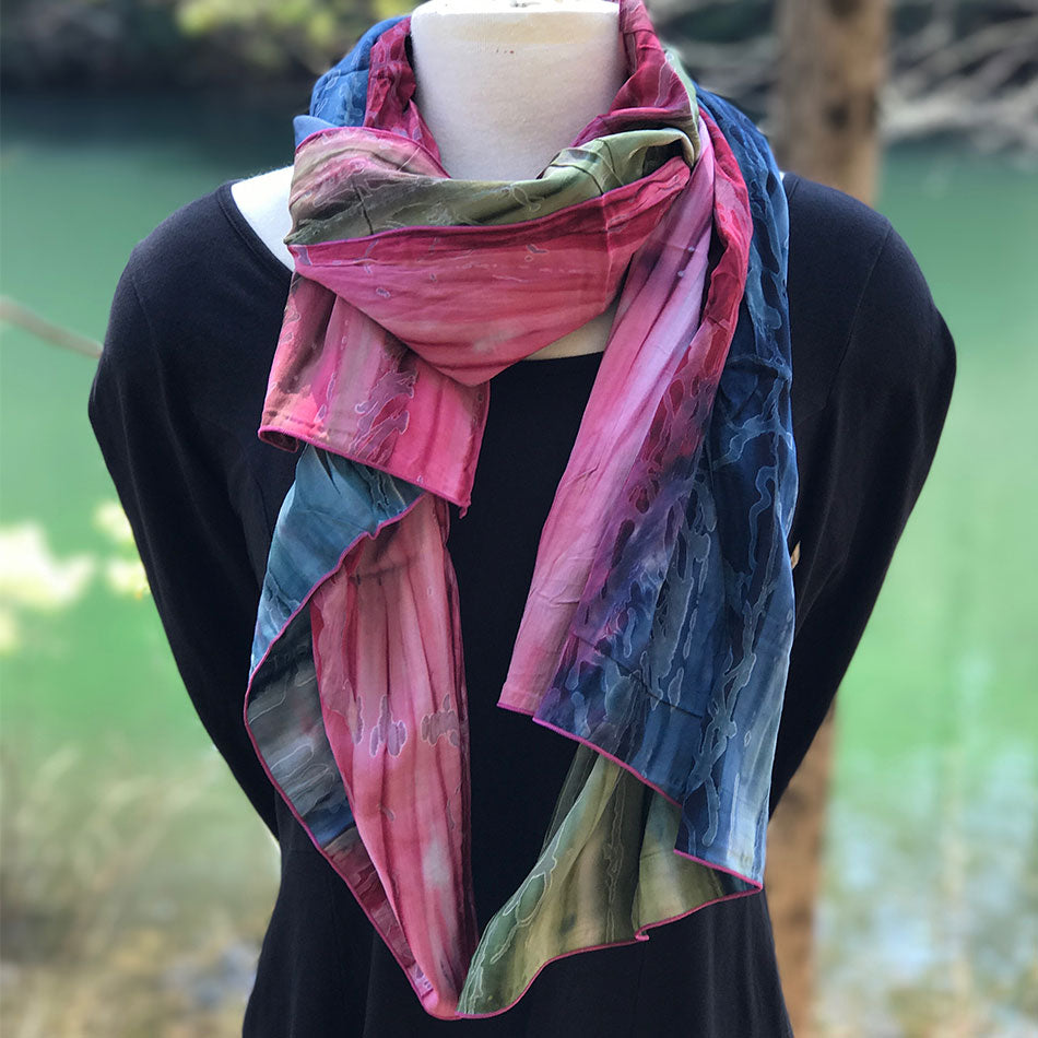 Watercolor Scarf/Wrap - Sunset, Bali