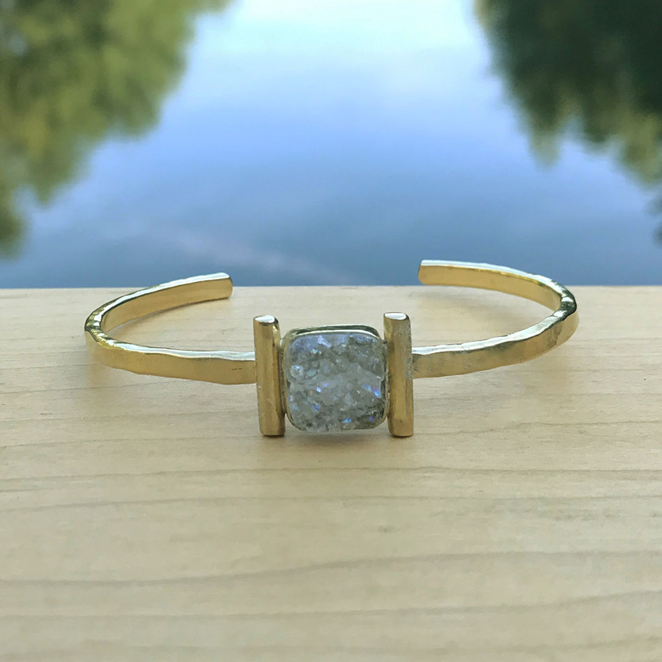 Druzy quartz brass fair trade cuff handmade by women in Kenya