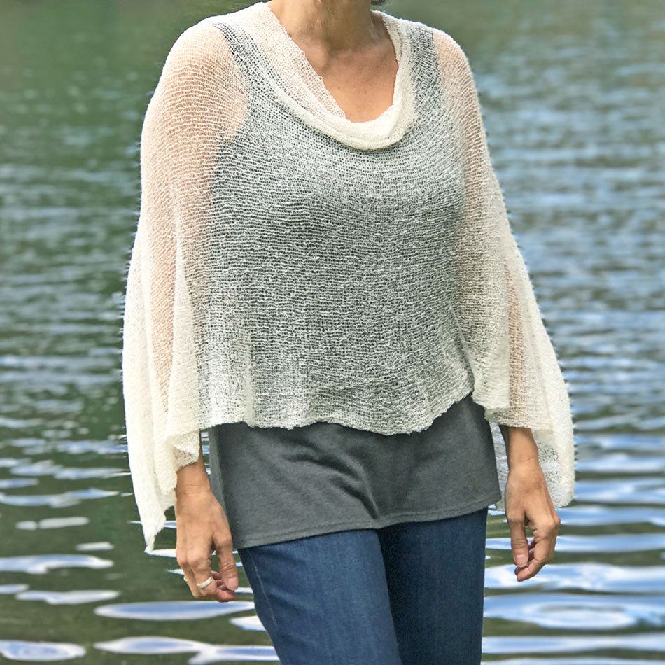 Woven Lightweight Poncho - Natural, Bali