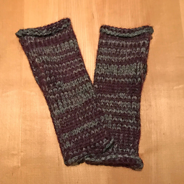 Alpaca Fingerless Gloves - Wine/Gray, Peru