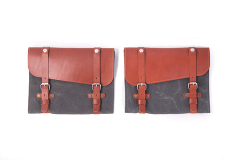 Waxed Canvas & Leather Door Pocket - Charcoal