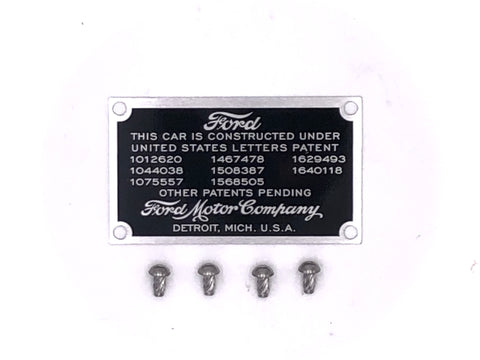 Data plate for firewall - Ford Model A 1928-1931