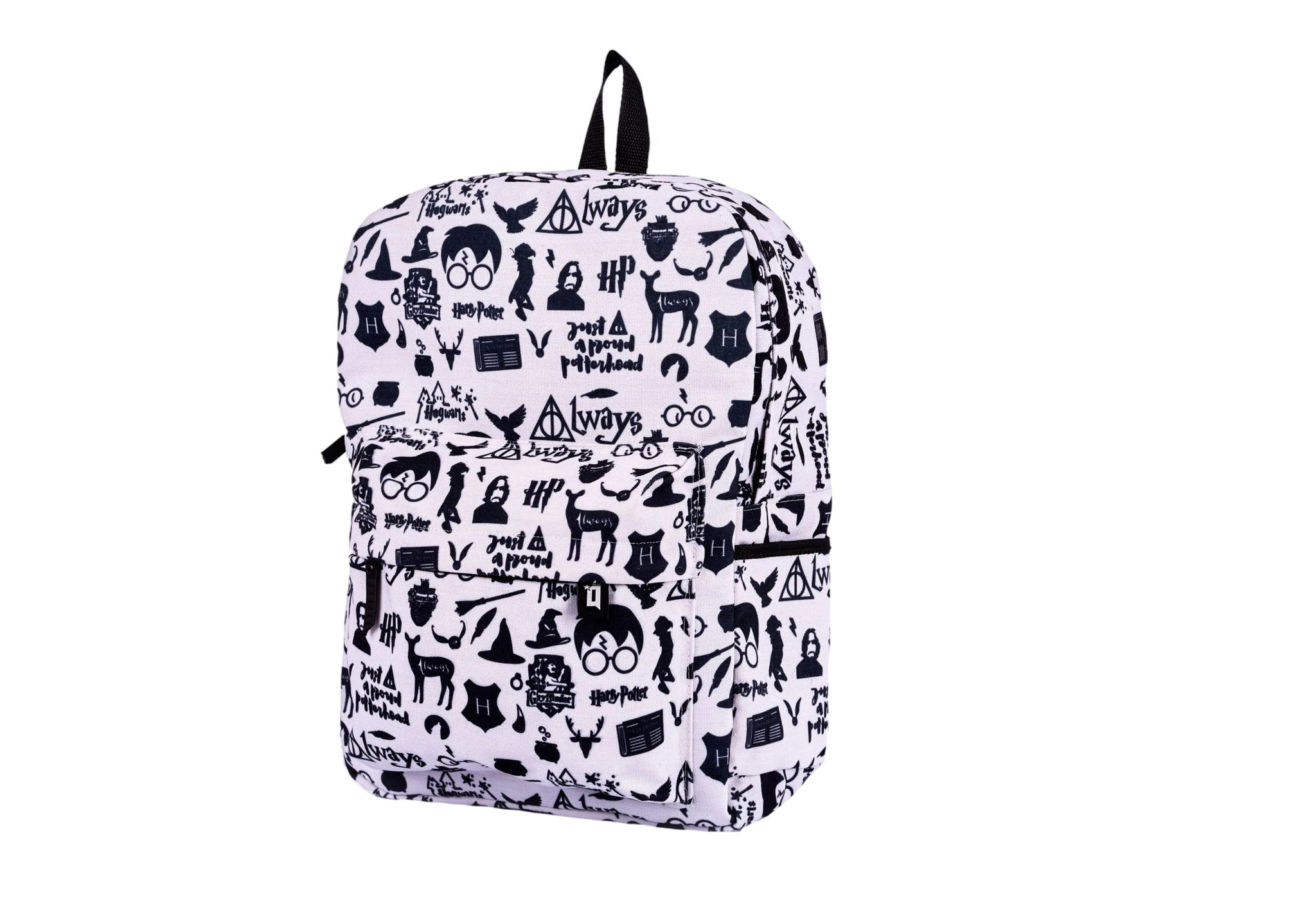 White Harry Potter Printed Backpack - qaafgallery
