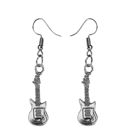 Silver Guitar Earrings - qaafgallery