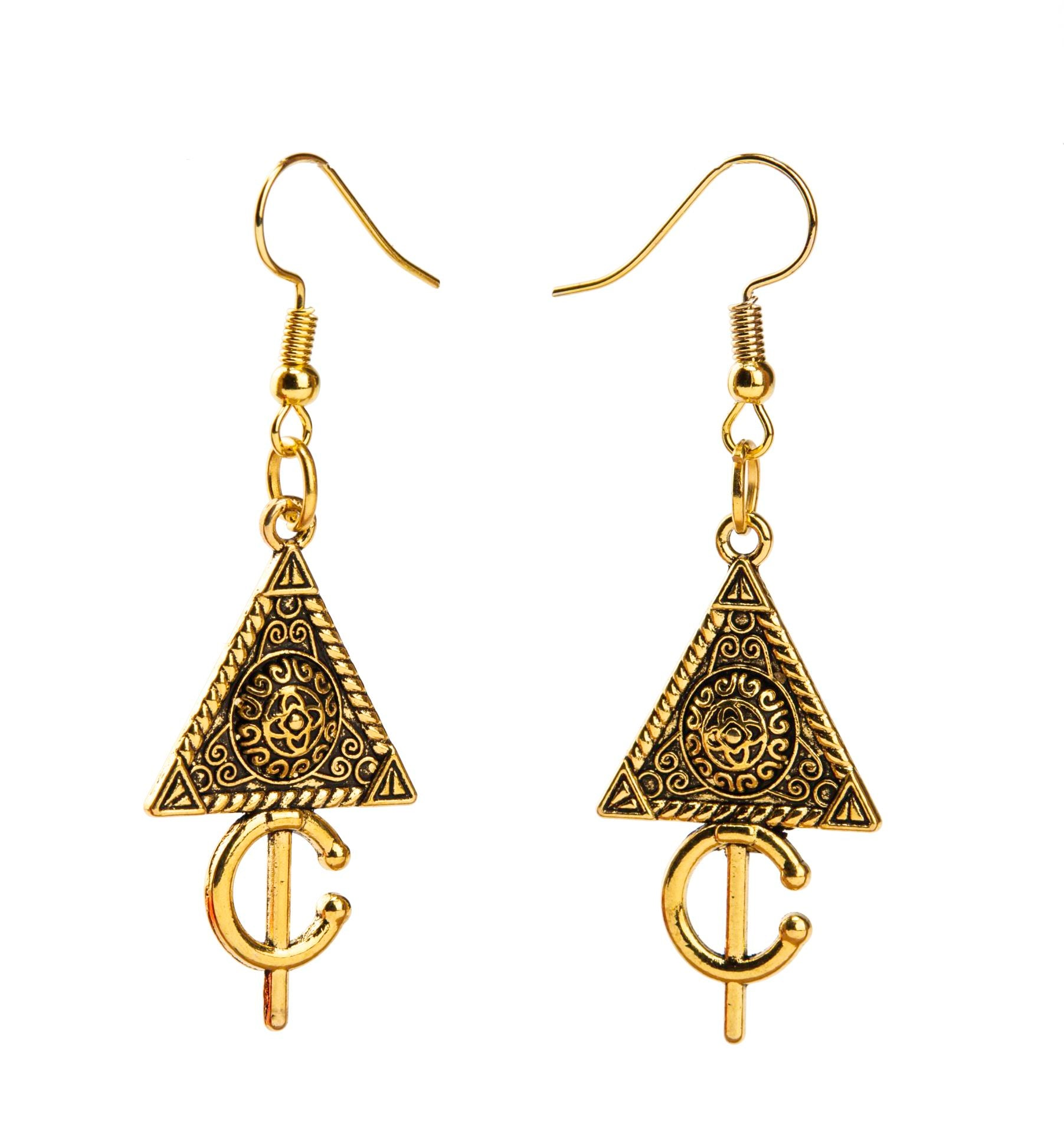 Gold Triangle Earrings - qaafgallery