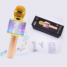 Load image into Gallery viewer, LED lights wireless microphone professional Karaoke bluetooth Microphone Studio Player Singing Recorder Handheld microfone Mic 1