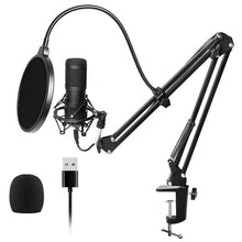 Load image into Gallery viewer, Usb Streaming Podcast Pc Microphone Professional Studio Cardioid Condenser Mic Kit with Sound Card Boom Arm Shock Mount Filter,
