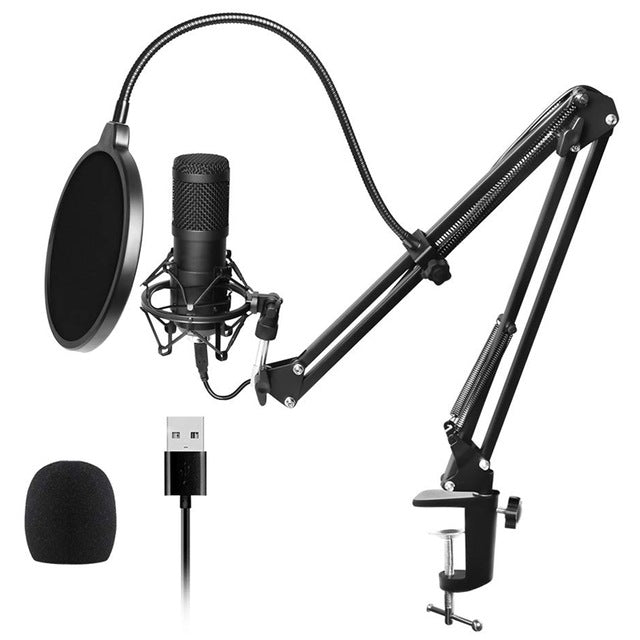 Usb Streaming Podcast Pc Microphone Professional Studio Cardioid Condenser Mic Kit with Sound Card Boom Arm Shock Mount Filter,
