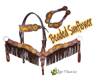Sunflower  Leather Headstall and Breast Collar