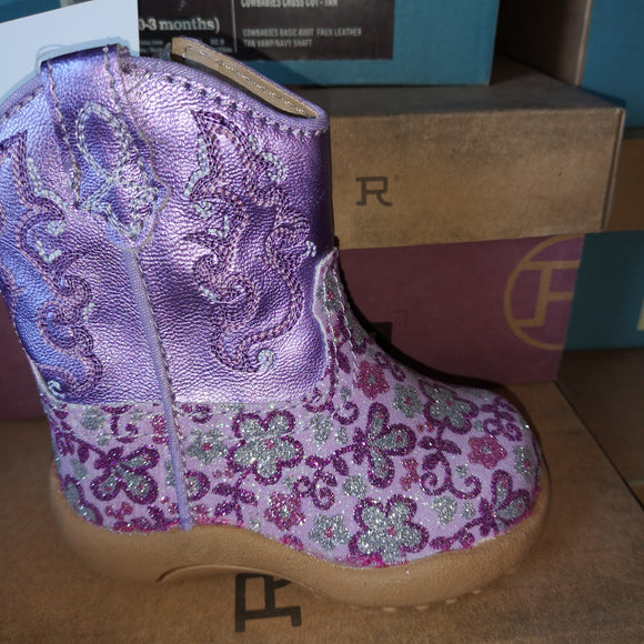Roper FLoral Glitter Toddler Boot in Lavender