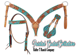 Tooled and Painted Leather Headstall and Breast Collar Set - Cactus