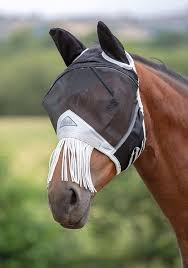 Shires Full Face Fly Mask - Fine Mesh with Fringe