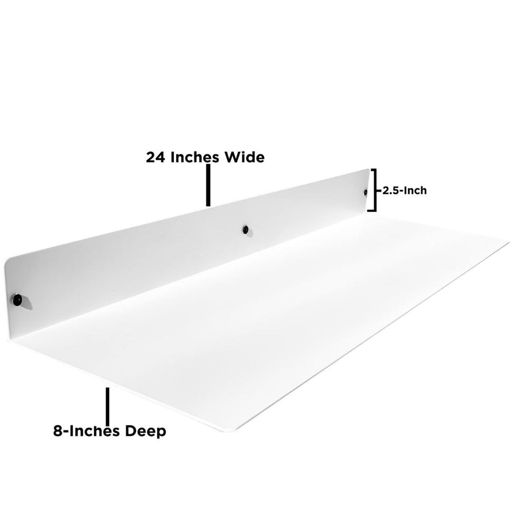 "Powder Coated Industrial Forged Steel Linear Floating Shelf - (Colors: Black, White, & Gold) (Sizes: 12"", 24"", 36"", 48"") Industrial Steel (USA) diycartel"