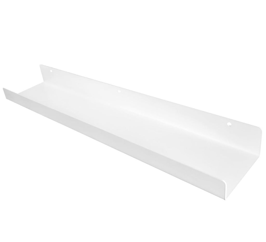 "Powder Coated Industrial Steel Floating Shelf Ledge - (Colors: Black & White) (Sizes: 24"" & 48"") Industrial Steel (USA) diycartel 24-Inch Matte White"
