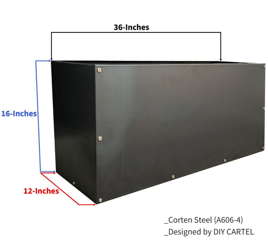 Corten Steel Rectangular Planter Box (36in x 12in x 16in) Outdoor diycartel