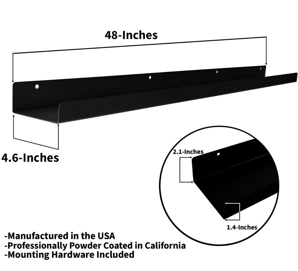 "Powder Coated Industrial Steel Floating Shelf Ledge - (Colors: Black & White) (Sizes: 24"" & 48"") Industrial Steel (USA) diycartel"