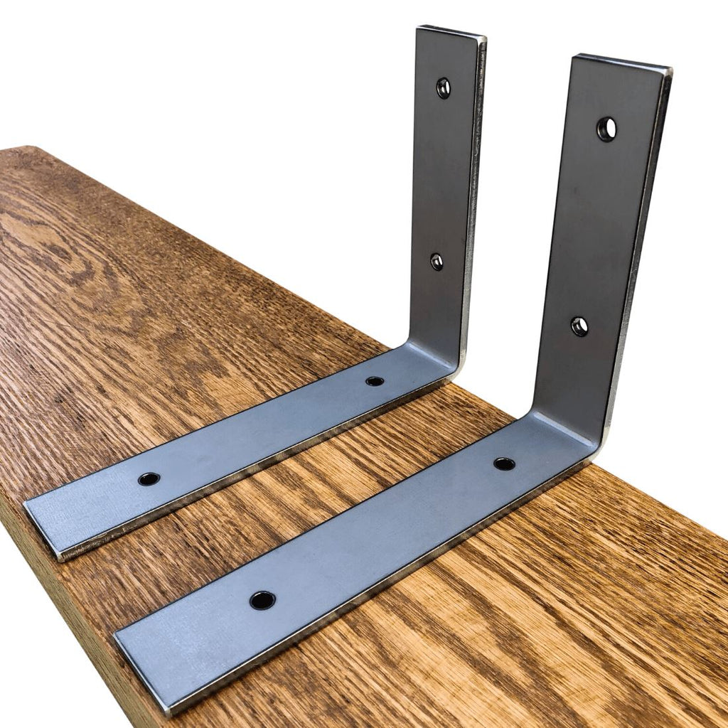 "Industrial Steel Floating Shelf L/J Bracket - 2 Pack - No Lip - (Size: 11"", 8"", 6"") Industrial Steel (USA) diycartel 8in x 6in Raw Steel"