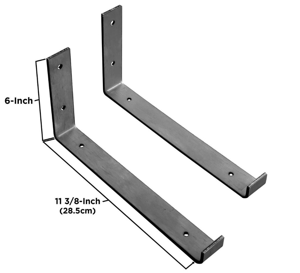 "Industrial Steel Floating Shelf J Bracket with Lip - 2 Pack (Size: 11 ⅜"", 8"", 6"") Industrial Steel (USA) diycartel"