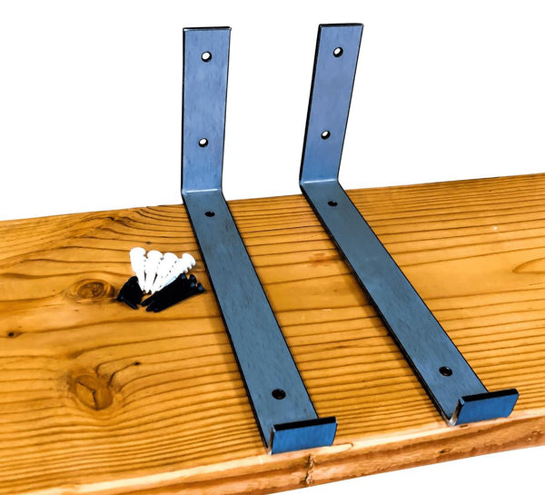 "Industrial Steel Floating Shelf J Bracket with Lip - 2 Pack (Size: 11 ⅜"", 8"", 6"") Industrial Steel (USA) diycartel 11 ⅜"" x 6 ⅜"" Raw Steel"