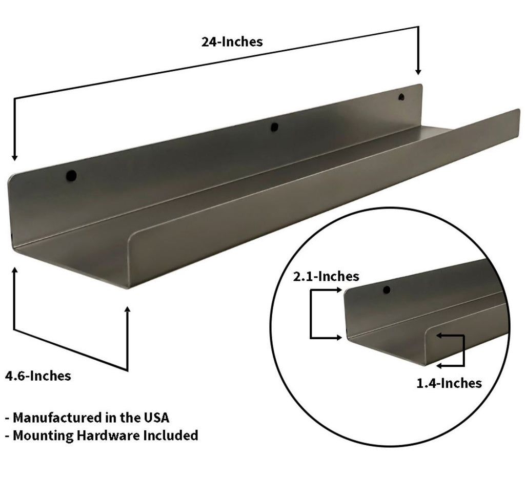 "Industrial Forged Steel Floating Shelf Ledge (Size: 24"" & 48"") Industrial Steel (USA) diycartel"
