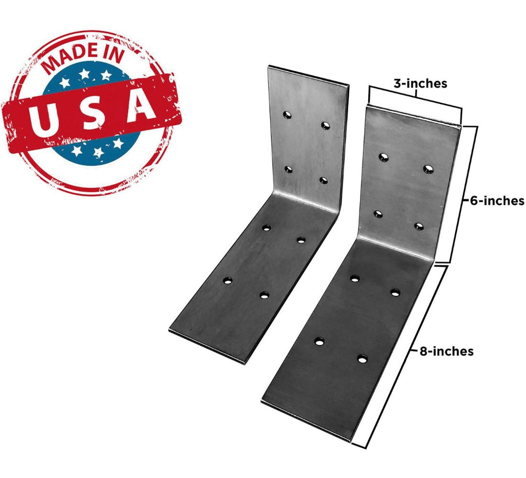 "Extra Wide Industrial Steel Floating Shelf L/J Bracket - 2 Pack - No Lip (Size: 8""x6"") Industrial Steel (USA) diycartel"