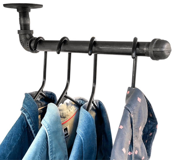 "Industrial Face Out Wall Mount Garment Rack - 2 pack (Size: 12"") Industrial Pipe (Iron) diycartel"