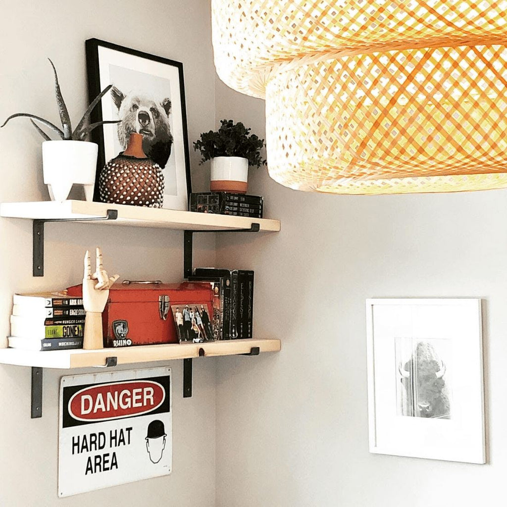 "Industrial Steel Floating Shelf L Bracket with Lip - 2 Pack (Size: 11"", 8"", 6"") Industrial Steel (USA) diycartel"