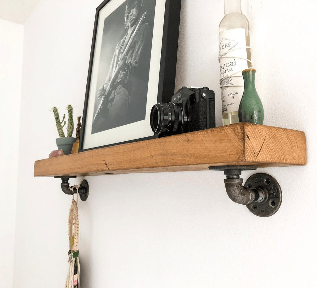 "Industrial Pipe L / J Shelf Brackets - 2 Pack (Size: 3"", 7"", 12"") Industrial Pipe (Iron) diycartel"