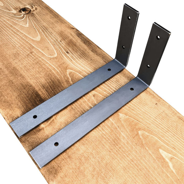 "Industrial Steel Floating Shelf L/J Bracket - 2 Pack - No Lip - (Size: 11"", 8"", 6"") Industrial Steel (USA) diycartel 11in x 6in Raw Steel"