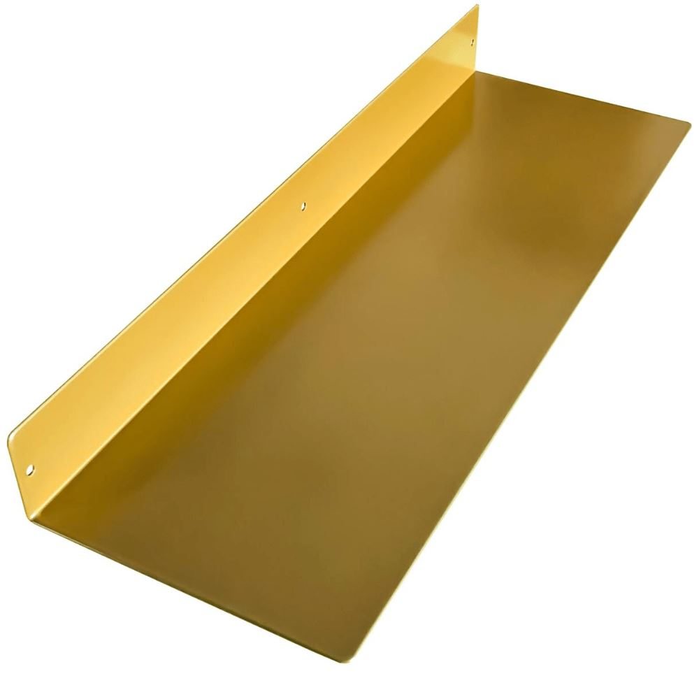 "Powder Coated Industrial Forged Steel Linear Floating Shelf - (Colors: Black, White, & Gold) (Sizes: 12"", 24"", 36"", 48"") Industrial Steel (USA) diycartel 24in x 8in 24LinearGold"