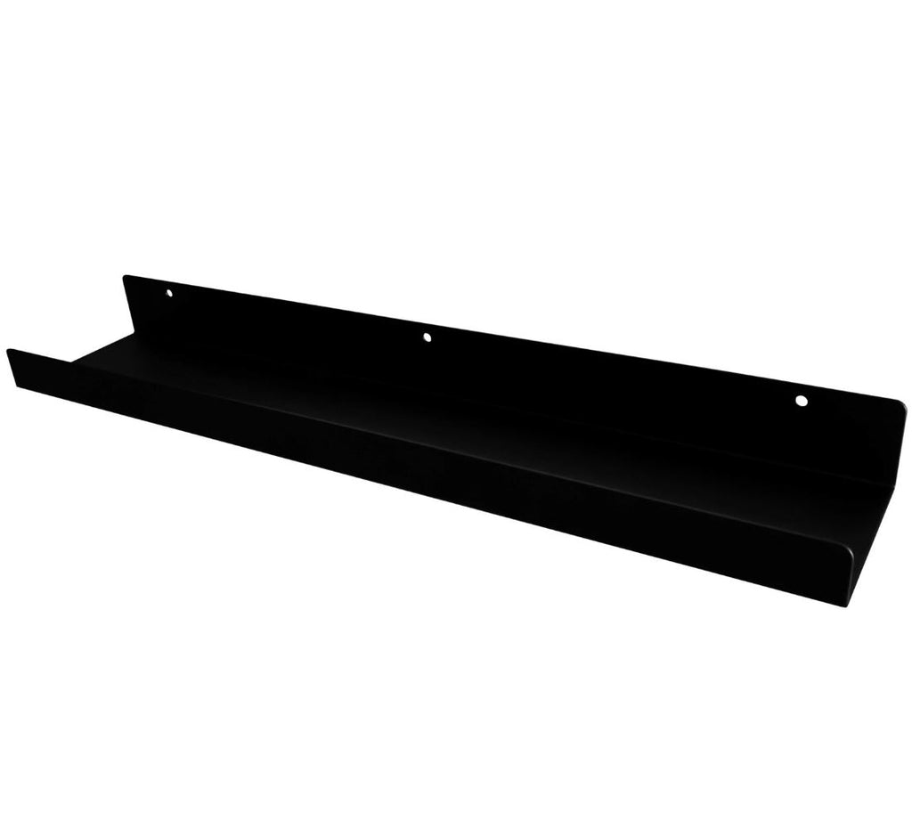 "Powder Coated Industrial Steel Floating Shelf Ledge - (Colors: Black & White) (Sizes: 24"" & 48"") Industrial Steel (USA) diycartel 24-Inch Matte Black"