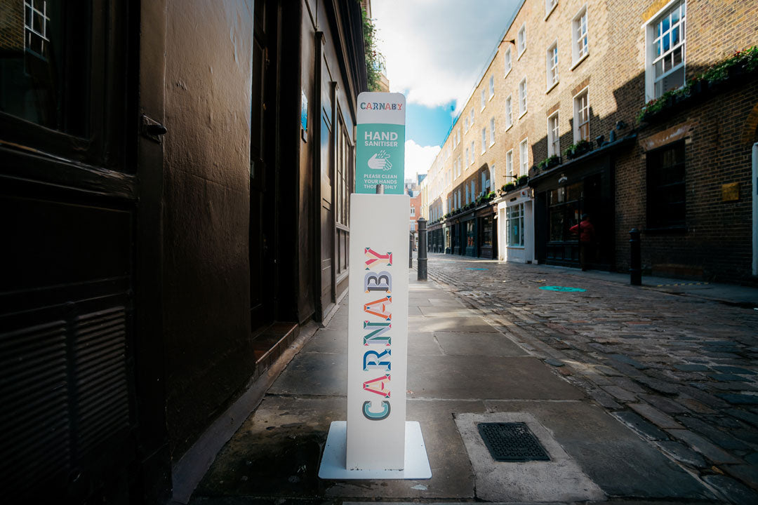 Carnaby and Chinatown Branded Hand Sanitiser Stations
