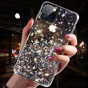 Phone Shell Silica Gel Transparent Combo Epoxy Flash Powder Creative Female Chrismas Gift