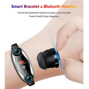 2 in 1 Fitness Bracelet With Wireless Bluetooth Headphone - Etrendpro