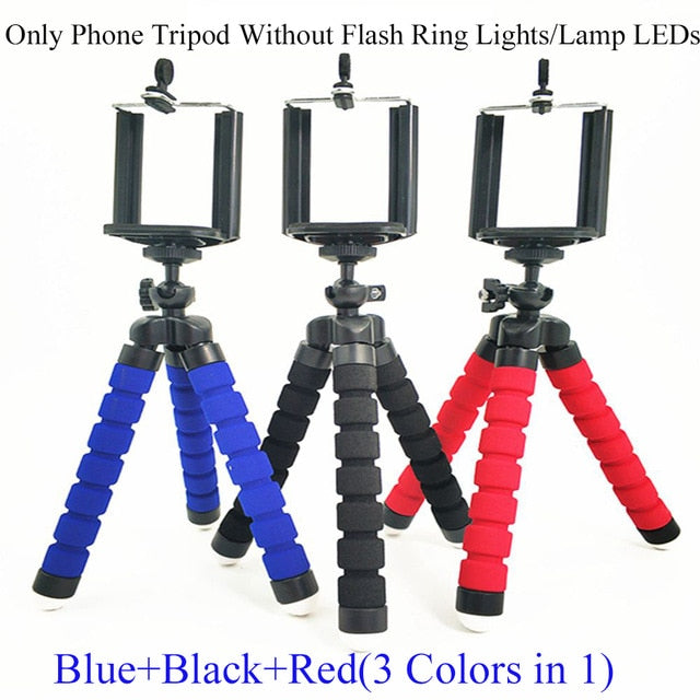 Phone Holder Tripod Selfie Flash Ring Light + Mobile Phone Holder 24 LED Camera 2 in 1 Flexibl Long Arm USB Clip for Live Stream