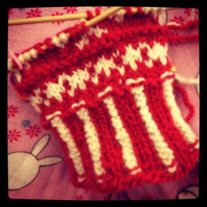 tiny trees, stripey cowls, and mitten pattern