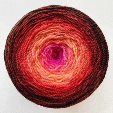 Helix Giant Gradient Yarn - For the Roses 2 - Pink, Salmon, Scarlet, Russet-Gradient Yarn-by-infinite-twist