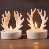 2 European Christmas Antler Candlestick Handmade Ceramic White Antlers Christmas Creative Tea Candle Holder Home Decorations