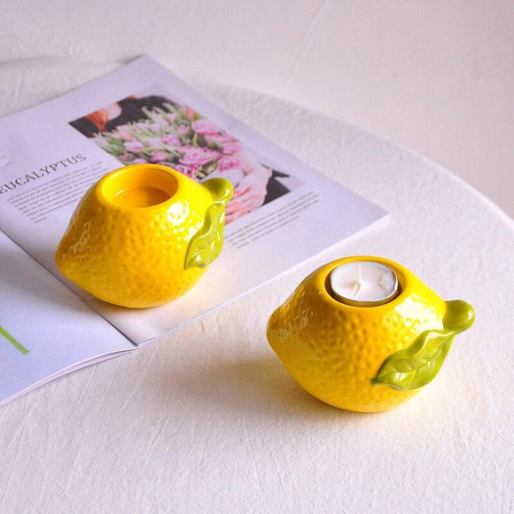 Lemon Stereo Ceramic Candlestick Candlelight Dinner Home Decoration Candle Holder Wedding Centerpieces Wedding Decoration