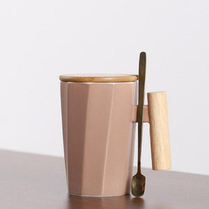 380ml Wood Handle Ceramic Coffee Mug Creative Polygonal Office Home Milk Tea Cup For Gift