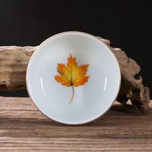 2019 Newest 60ml Celadon Maple Leaf Cups Hand-painted Phnom Penh Tasting Cup Ceramic Kung Fu Pu'er Tea Cup