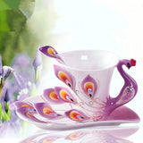 3D Peacock Enamel Coffee Mug Cup Set Ceramic Tea Milk Drinkware Creative China Bone Friend Gift