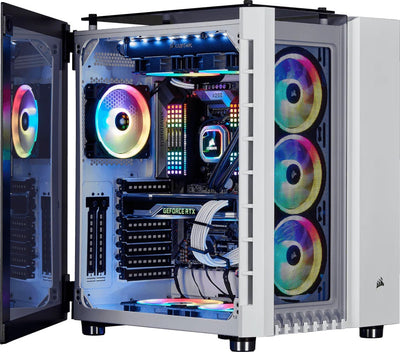 Corsair Crystal RGB White Desktop Gaming PC Computer Intel i3 16GB DDR4 GeForce 4GB Graphics Card