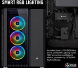 Corsair Crystal RGB Black Desktop Gaming PC Computer AMD Ryzen 7 16GB DDR4 GeForce 4GB Graphics Card