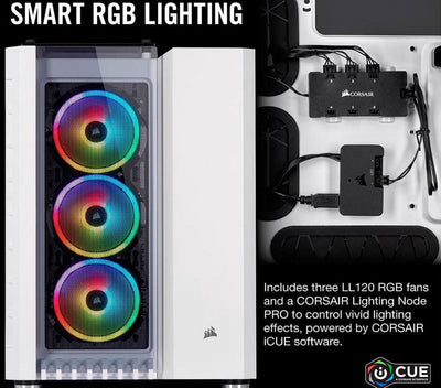 Corsair Crystal RGB White Desktop Gaming PC Computer AMD Ryzen 7 16GB DDR4 GeForce 4GB Graphics Card