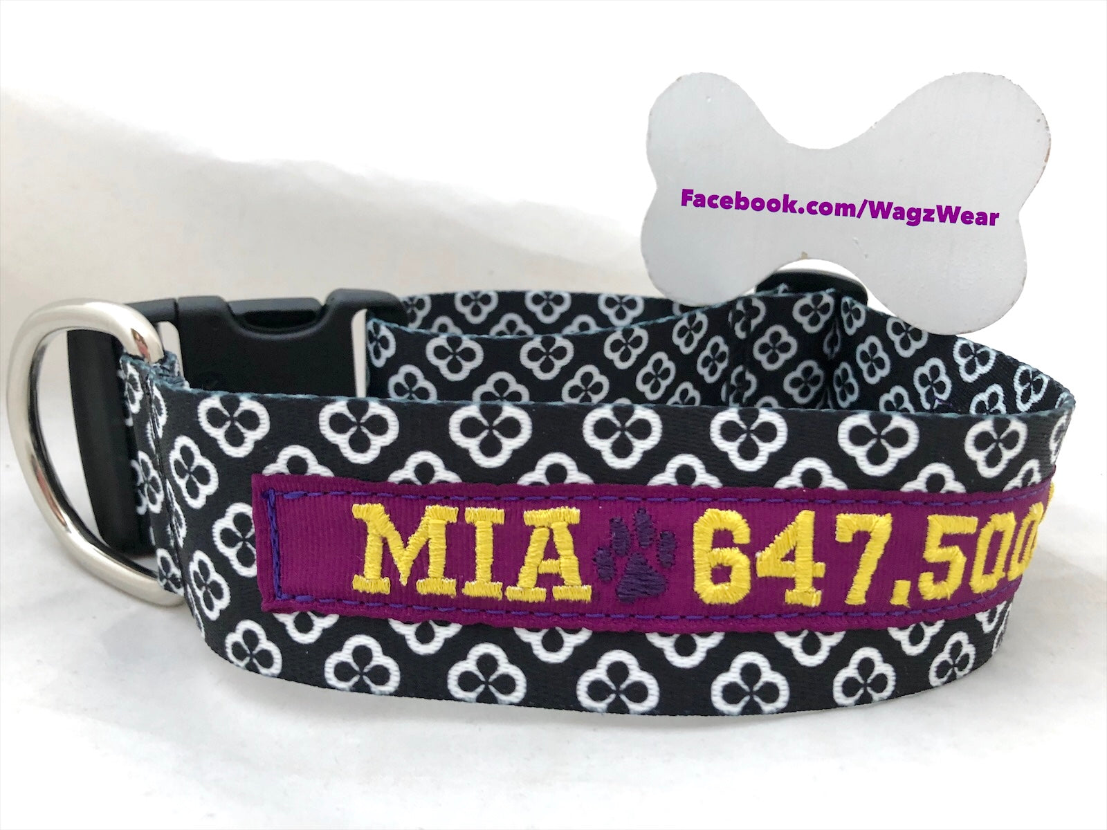 "Dog Collar with Custom Embroidered ID - 1.5"" Width"