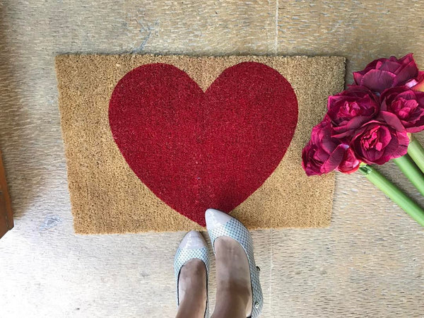 Large Hearted Front Door Mat