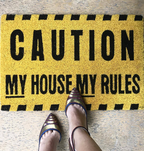 Caution Door Mat