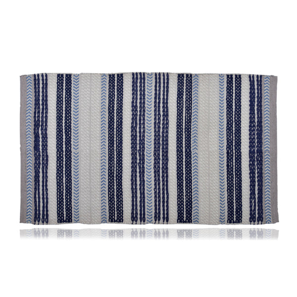 Twisty Stripe Light-Blue Dhurrie