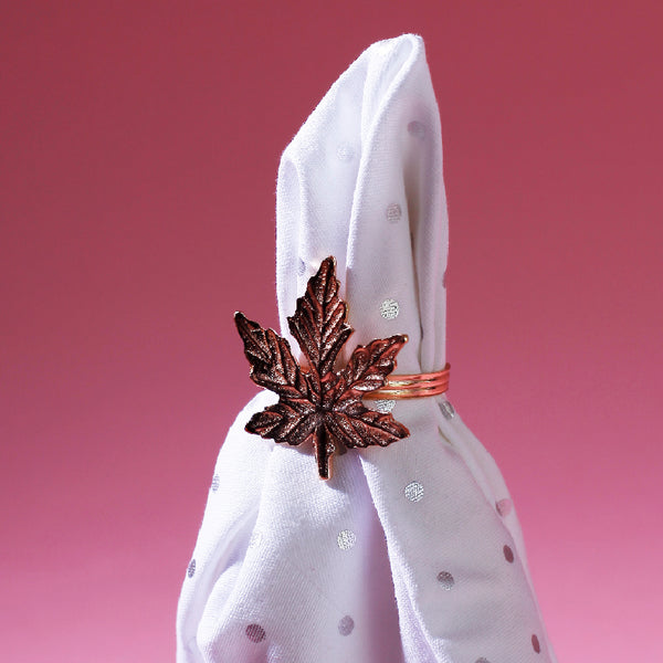 Napkin Ring Maple Leaf Rose Gold